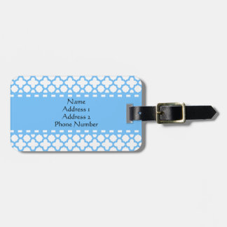 Blue Quatrefoil Pattern Bag Tag