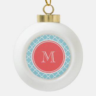 Blue Quatrefoil Pattern, Coral Monogram Ceramic Ball Christmas Ornament