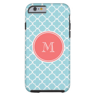 Blue Quatrefoil Pattern, Coral Monogram Tough iPhone 6 Case