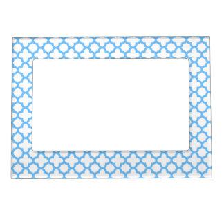 Blue Quatrefoil Pattern Magnetic Frame