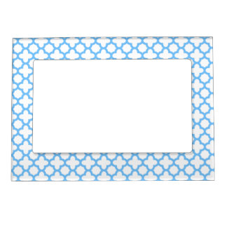 Blue Quatrefoil Pattern Magnetic Picture Frame