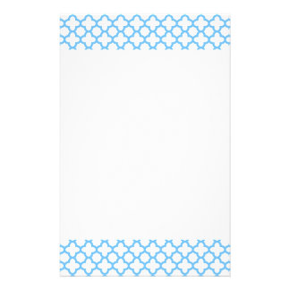 Blue Quatrefoil Pattern Stationery Paper