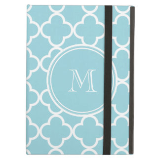 Blue Quatrefoil Pattern, Your Monogram Case For iPad Air
