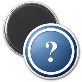 blue question mark round button magnets