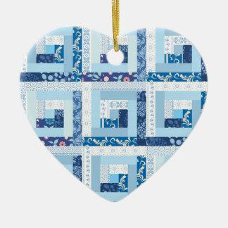 Blue Quilt Ceramic Heart Decoration
