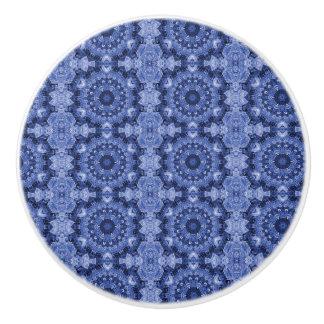 Blue Quilt Ceramic Knob