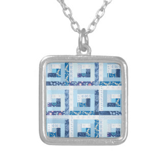 Blue Quilt Silver Plated Necklace