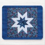 blue quilt star mousepad