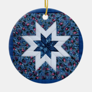blue quilt star round ornament