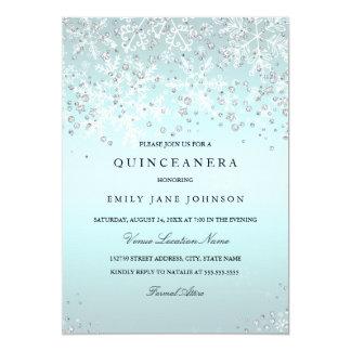 Blue Quinceanera Winter Wonderland Snowflakes Card