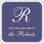 Blue R Monogram From the Wine Cellar of Labels Square Sticker