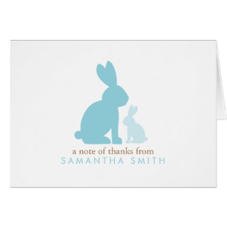 Blue Rabbits Baby Shower Thank You Notes Note Card