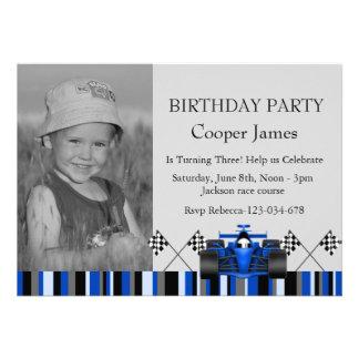 Blue Race Car Birthday Invite