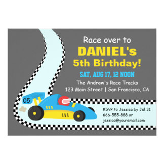 Blue Race Car Kids Birthday Party Invitations