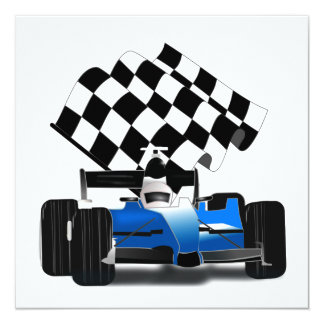 Blue Race Car with Checkered Flag 13 Cm X 13 Cm Square Invitation Card