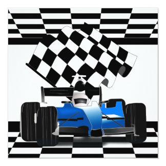 Blue Race Car with Checkered Flag Card