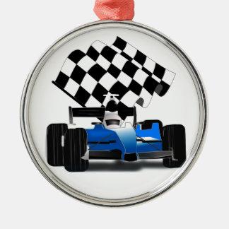 Blue Race Car with Checkered Flag Christmas Ornament