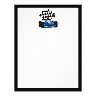 Blue Race Car with Checkered Flag Flyer