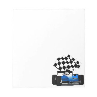 Blue Race Car with Checkered Flag Notepad