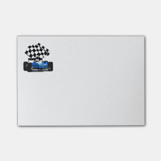Blue Race Car with Checkered Flag Post-it® Notes