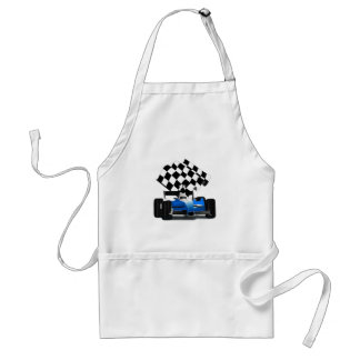 Blue Race Car with Checkered Flag Standard Apron