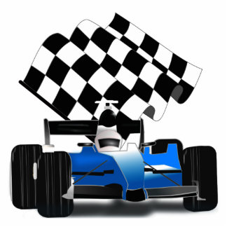 Blue Race Car with Checkered Flag Standing Photo Sculpture
