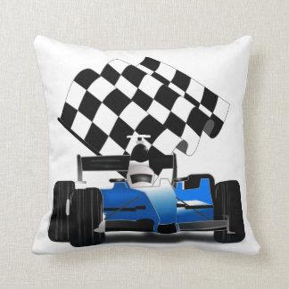 Blue Race Car with Checkered Flag Throw Cushions