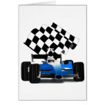 Blue Race Car with Chequered Flag