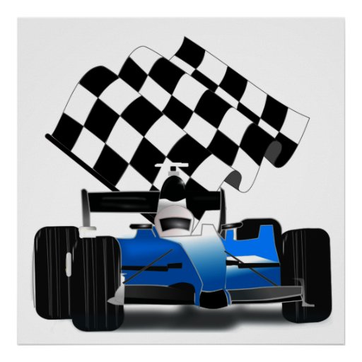 Blue Race Car with Chequered Flag Poster