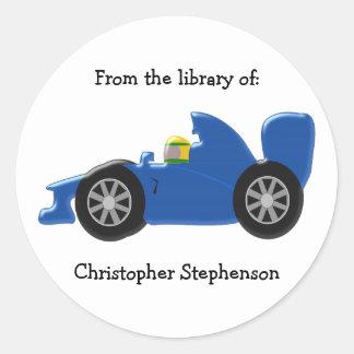 Blue Racing Car Bookplate Round Sticker