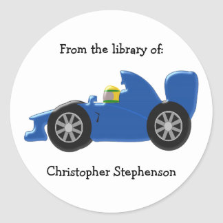 Blue Racing Car Bookplate Round Stickers