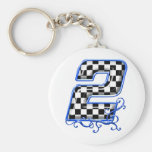 blue racing number 2 basic round button key ring