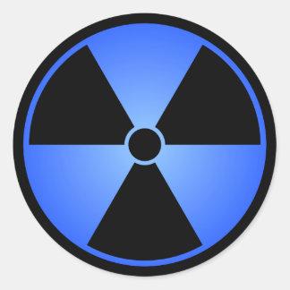 Blue Radiation Symbol Round Sticker