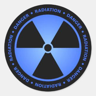 Blue Radiation Warning Round Sticker