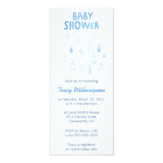 Blue rain drop baby shower invite