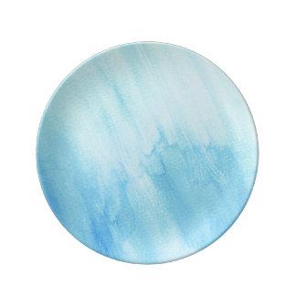 Blue Rain Storm Water Watercolor Paint Porcelain Plate