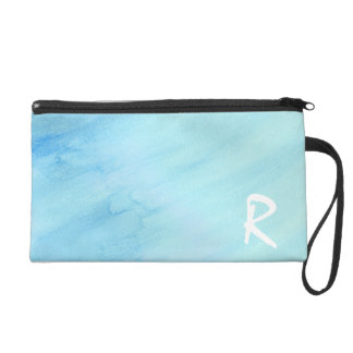 Blue Rain Storm Water Watercolor Paint Wristlet Clutch