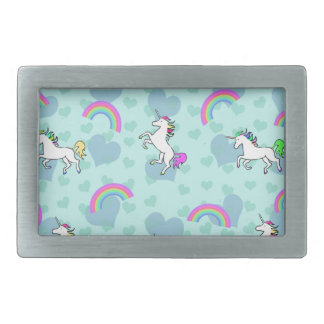 Blue Rainbow and Unicorns Pattern Belt Buckle