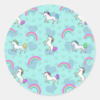 Blue Rainbow and Unicorns Pattern Classic Round Sticker