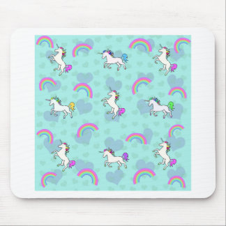 Blue Rainbow and Unicorns Pattern Mouse Mat