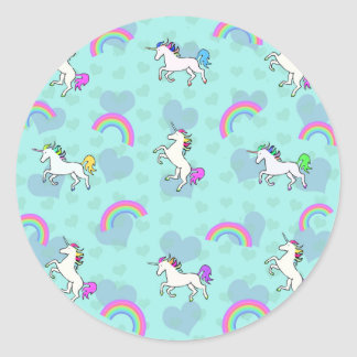Blue Rainbow and Unicorns Pattern Round Sticker