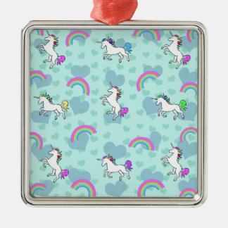 Blue Rainbow and Unicorns Pattern Silver-Colored Square Decoration