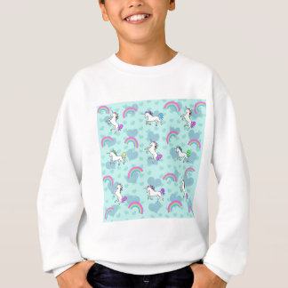 Blue Rainbow and Unicorns Pattern Sweatshirt