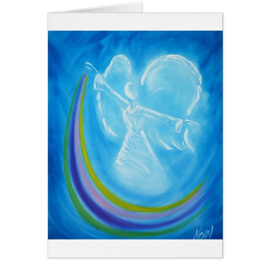 Blue Rainbow Angel Card