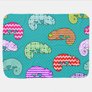 Blue Rainbow Chameleon Pattern Baby Blanket