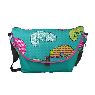 Blue Rainbow Chameleon Pattern Commuter Bags