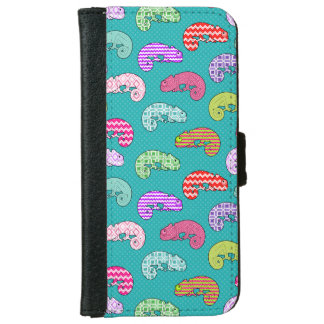 Blue Rainbow Chameleon Pattern iPhone 6 Wallet Case