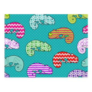 Blue Rainbow Chameleon Pattern Postcard