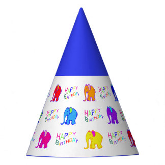 Blue Rainbow Color Cartoon Elephants Kid Birthday Party Hat