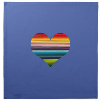 Blue Rainbow Heart Design Multicolor Stripe Napkin